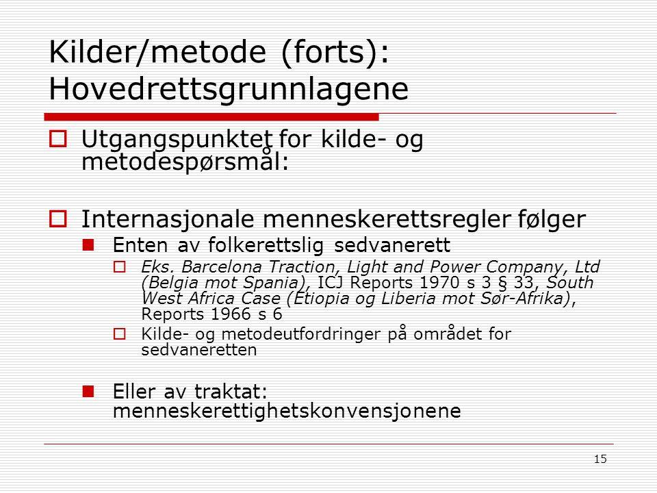 15 Kilder/metode (forts): Hovedrettsgrunnlagene  Utgangspunktet for kilde- og metodespørsmål:  Internasjonale menneskerettsregler følger Enten av fo