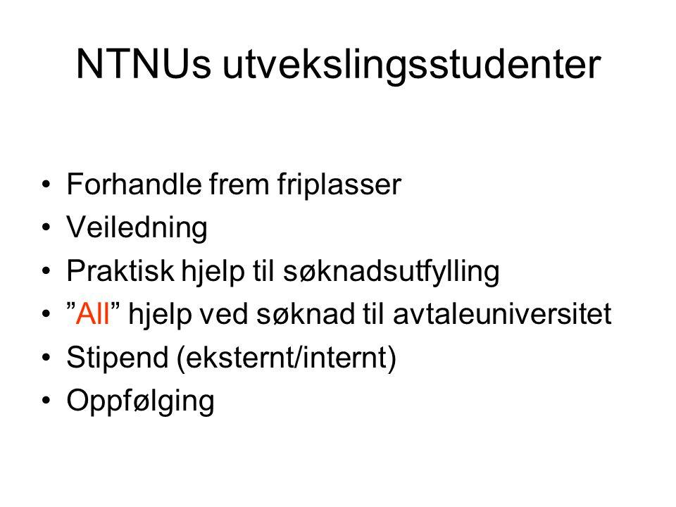 NTNUs utvekslingsstudenter Forhandle frem friplasser Veiledning Praktisk hjelp til søknadsutfylling All hjelp ved søknad til avtaleuniversitet Stipend (eksternt/internt) Oppfølging
