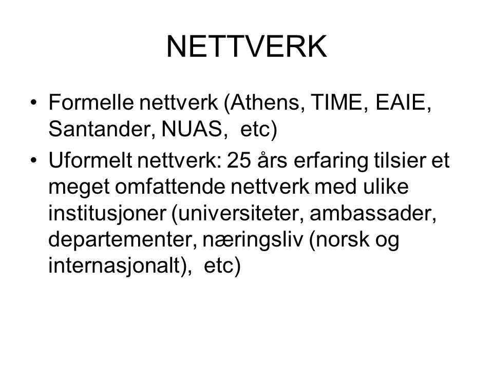 NETTVERK Formelle nettverk (Athens, TIME, EAIE, Santander, NUAS, etc) Uformelt nettverk: 25 års erfaring tilsier et meget omfattende nettverk med ulike institusjoner (universiteter, ambassader, departementer, næringsliv (norsk og internasjonalt), etc)