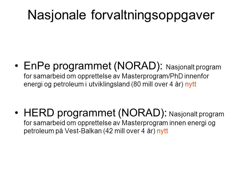 Nasjonale forvaltningsoppgaver EnPe programmet (NORAD): Nasjonalt program for samarbeid om opprettelse av Masterprogram/PhD innenfor energi og petrole