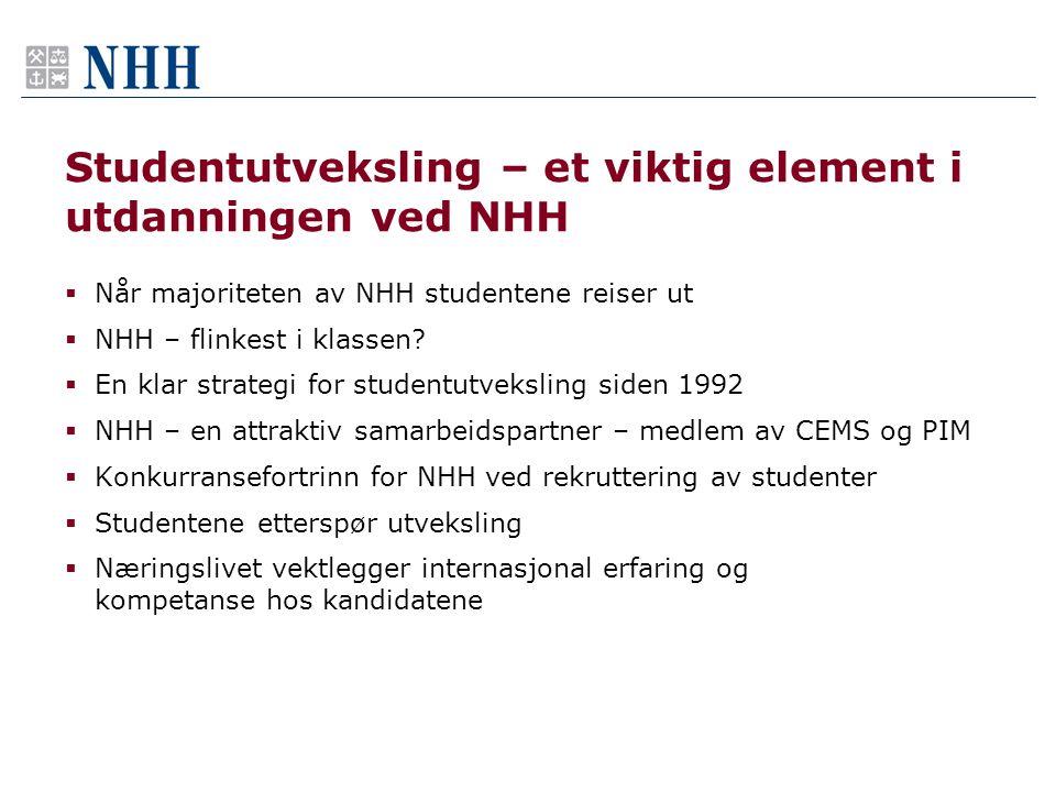 Studentutveksling – et viktig element i utdanningen ved NHH  Når majoriteten av NHH studentene reiser ut  NHH – flinkest i klassen.