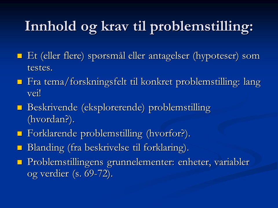 Innhold og krav til problemstilling: Et (eller flere) spørsmål eller antagelser (hypoteser) som testes. Et (eller flere) spørsmål eller antagelser (hy