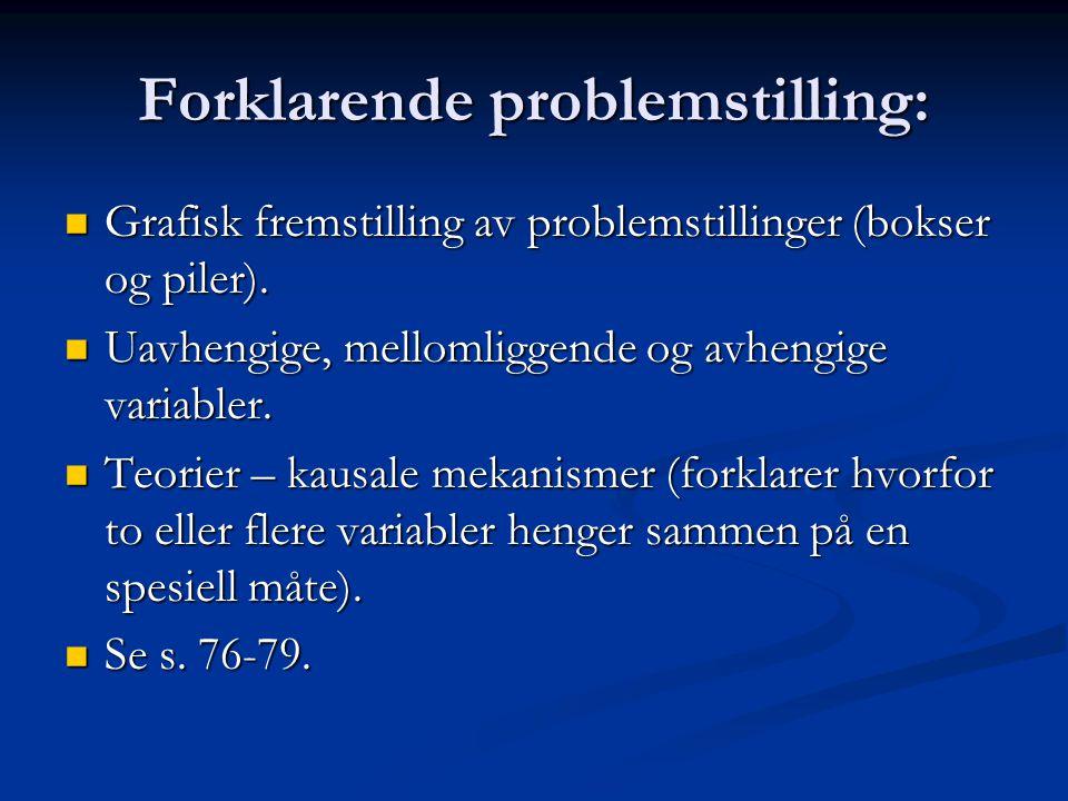 Forklarende problemstilling: Grafisk fremstilling av problemstillinger (bokser og piler). Grafisk fremstilling av problemstillinger (bokser og piler).
