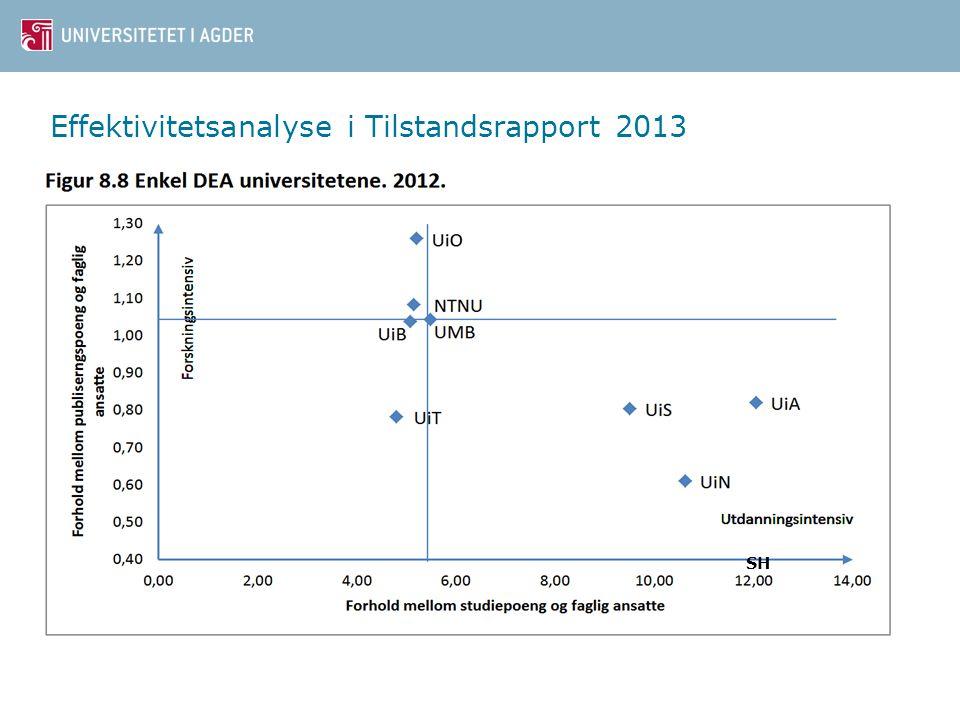 Effektivitetsanalyse i Tilstandsrapport 2013 SH