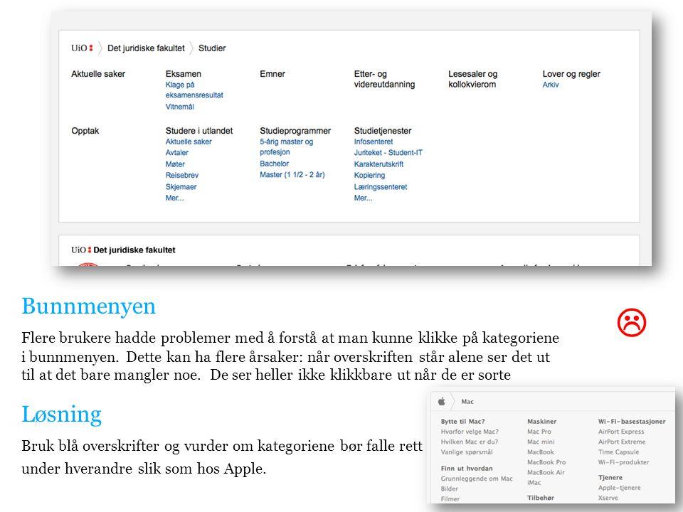Bunnmenyen Flere brukere hadde problemer med å forstå at man kunne klikke på kategoriene i bunnmenyen.