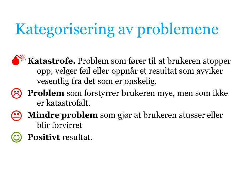 Kategorisering av problemene Katastrofe.