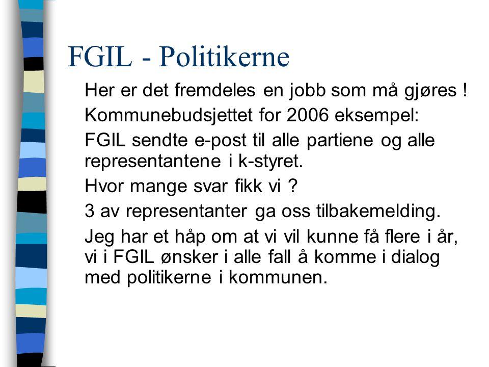 FGIL - politikerer - Forumet der vi kan møtes mangler - politikernes hektiske hverdag, er det slik at samarbeidsutvalgene prioriteres ned .