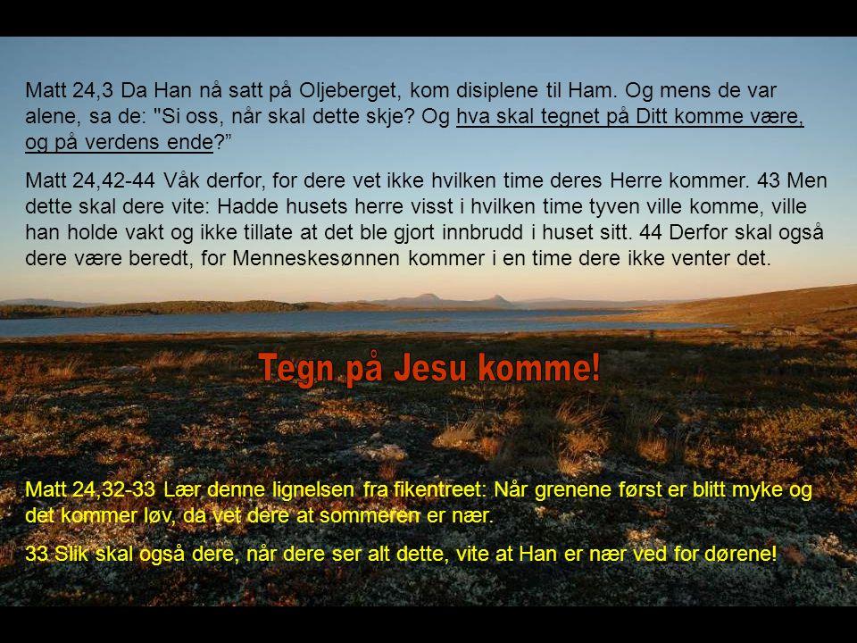 Matt 24,3 Da Han nå satt på Oljeberget, kom disiplene til Ham. Og mens de var alene, sa de: