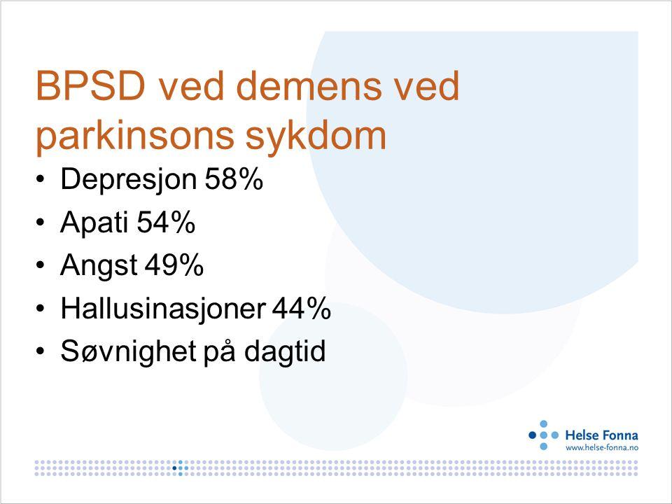 BPSD ved demens ved parkinsons sykdom Depresjon 58% Apati 54% Angst 49% Hallusinasjoner 44% Søvnighet på dagtid