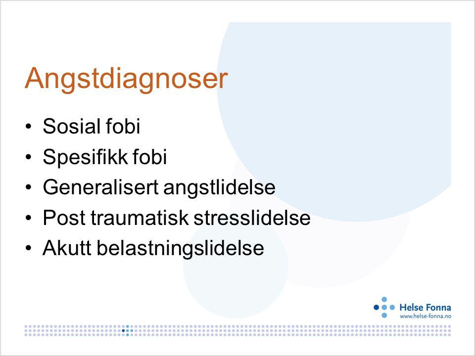 Angstdiagnoser Sosial fobi Spesifikk fobi Generalisert angstlidelse Post traumatisk stresslidelse Akutt belastningslidelse