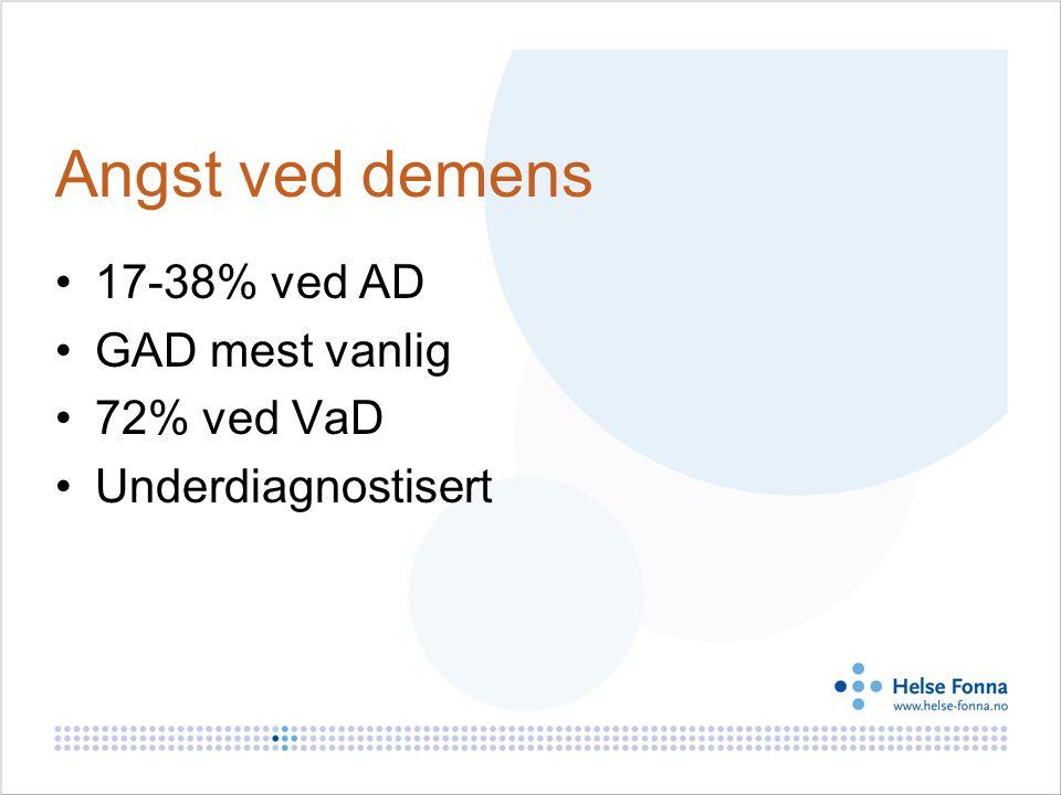 Angst ved demens 17-38% ved AD GAD mest vanlig 72% ved VaD Underdiagnostisert