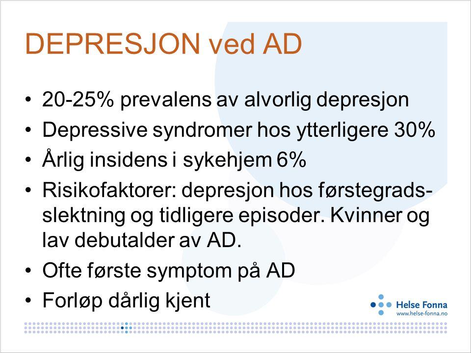 DEPRESJON ved AD 20-25% prevalens av alvorlig depresjon Depressive syndromer hos ytterligere 30% Årlig insidens i sykehjem 6% Risikofaktorer: depresjon hos førstegrads- slektning og tidligere episoder.