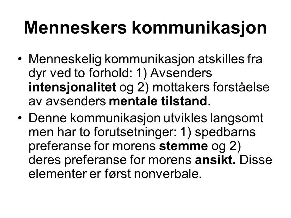 Menneskers kommunikasjon Menneskelig kommunikasjon atskilles fra dyr ved to forhold: 1) Avsenders intensjonalitet og 2) mottakers forståelse av avsend