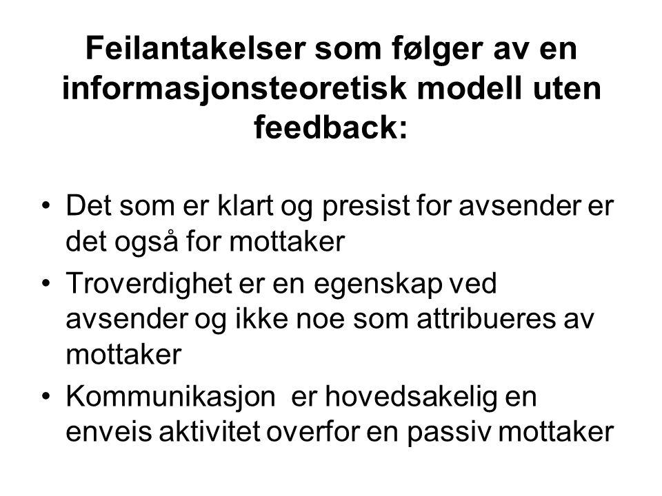 Feilantakelser som følger av en informasjonsteoretisk modell uten feedback: Det som er klart og presist for avsender er det også for mottaker Troverdi