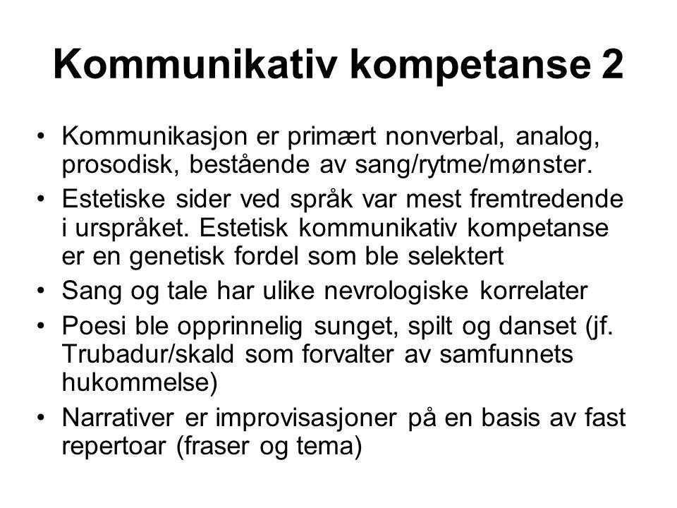 Kommunikativ kompetanse 2 Kommunikasjon er primært nonverbal, analog, prosodisk, bestående av sang/rytme/mønster. Estetiske sider ved språk var mest f