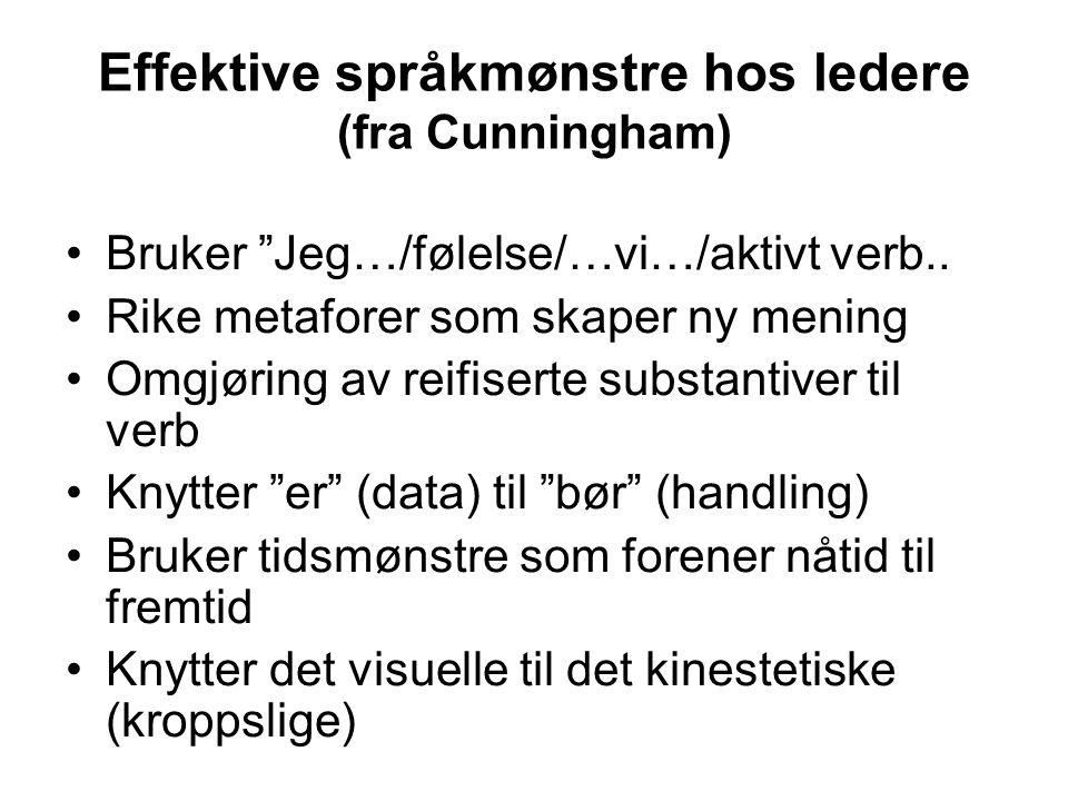 """Effektive språkmønstre hos ledere (fra Cunningham) Bruker """"Jeg…/følelse/…vi…/aktivt verb.. Rike metaforer som skaper ny mening Omgjøring av reifiserte"""