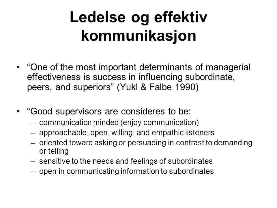 Leder kommunikasjon (Dansereau & Markham 1987) Effektiv leder-underordnet kommunikasjon er unik, men generelt gjelder at effektive dyader karakteriseres av: –openness –intimacy –support –liking –respect –trust