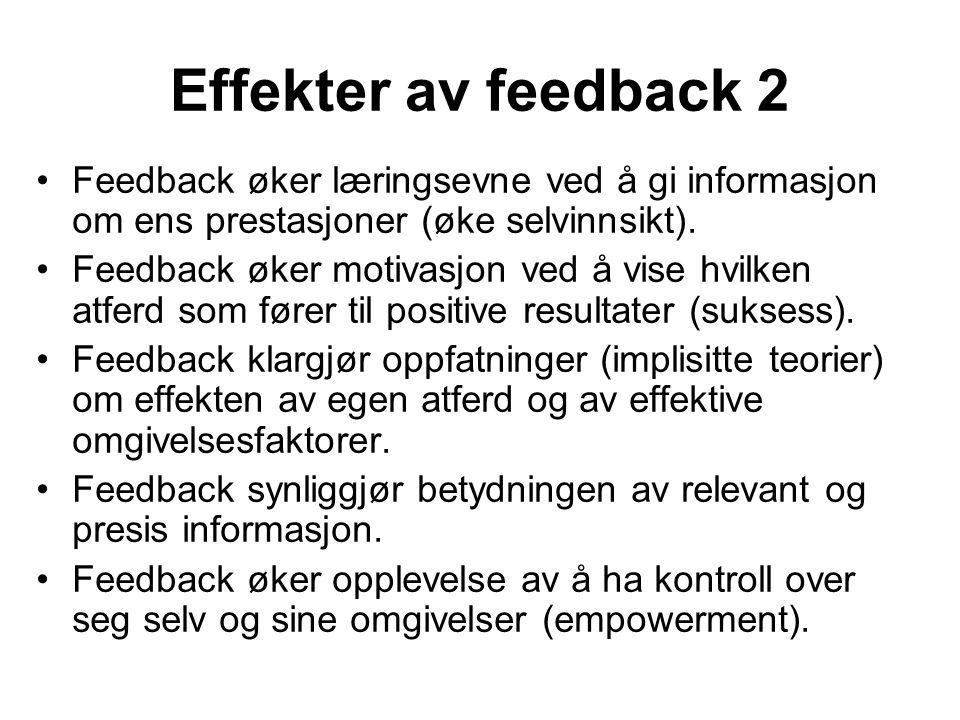Effekter av feedback 2 Feedback øker læringsevne ved å gi informasjon om ens prestasjoner (øke selvinnsikt). Feedback øker motivasjon ved å vise hvilk