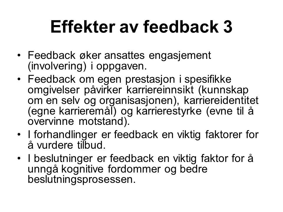 Effekter av feedback 3 Feedback øker ansattes engasjement (involvering) i oppgaven. Feedback om egen prestasjon i spesifikke omgivelser påvirker karri