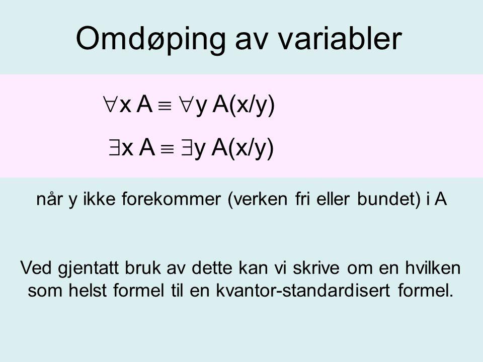 Omdøping av variabler  x A   y A(x/y)  x A   y A(x/y) når y ikke forekommer (verken fri eller bundet) i A Ved gjentatt bruk av dette kan vi skrive om en hvilken som helst formel til en kvantor-standardisert formel.