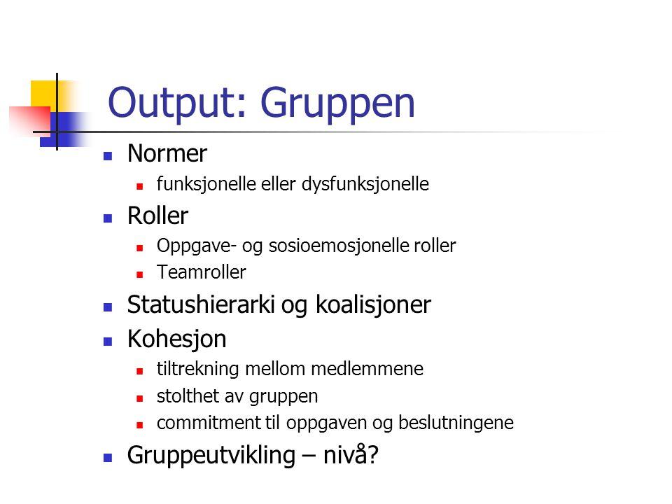 Output: Gruppen Normer funksjonelle eller dysfunksjonelle Roller Oppgave- og sosioemosjonelle roller Teamroller Statushierarki og koalisjoner Kohesjon