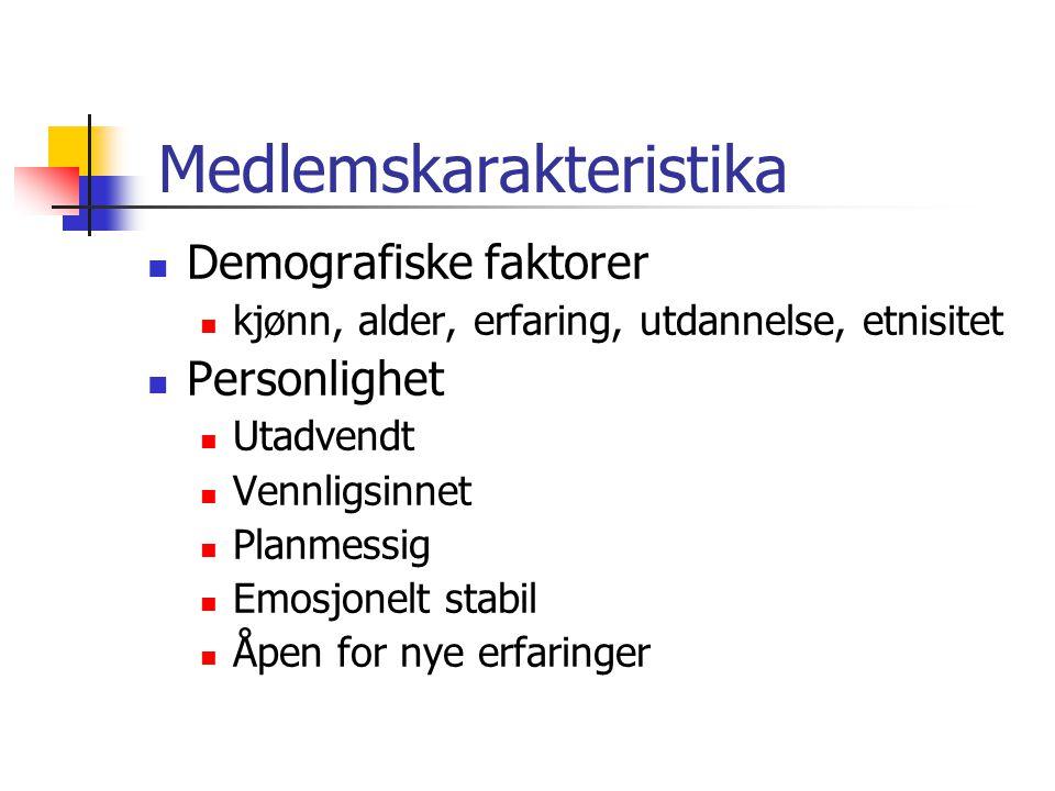Medlemskarakteristika Demografiske faktorer kjønn, alder, erfaring, utdannelse, etnisitet Personlighet Utadvendt Vennligsinnet Planmessig Emosjonelt s