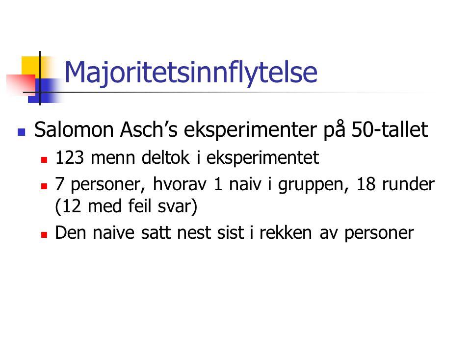 Majoritetsinnflytelse Salomon Asch's eksperimenter på 50-tallet 123 menn deltok i eksperimentet 7 personer, hvorav 1 naiv i gruppen, 18 runder (12 med