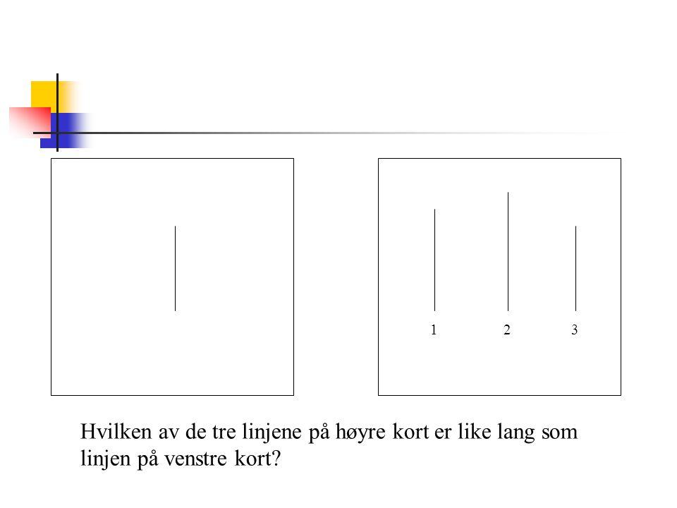 123 Hvilken av de tre linjene på høyre kort er like lang som linjen på venstre kort?