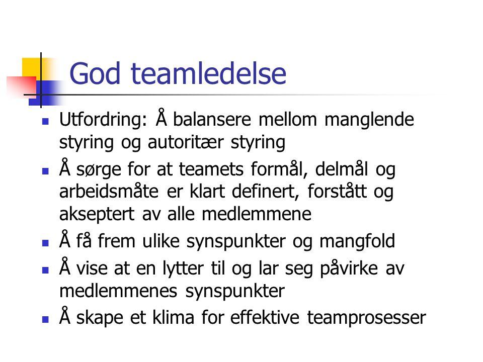 God teamledelse Utfordring: Å balansere mellom manglende styring og autoritær styring Å sørge for at teamets formål, delmål og arbeidsmåte er klart de