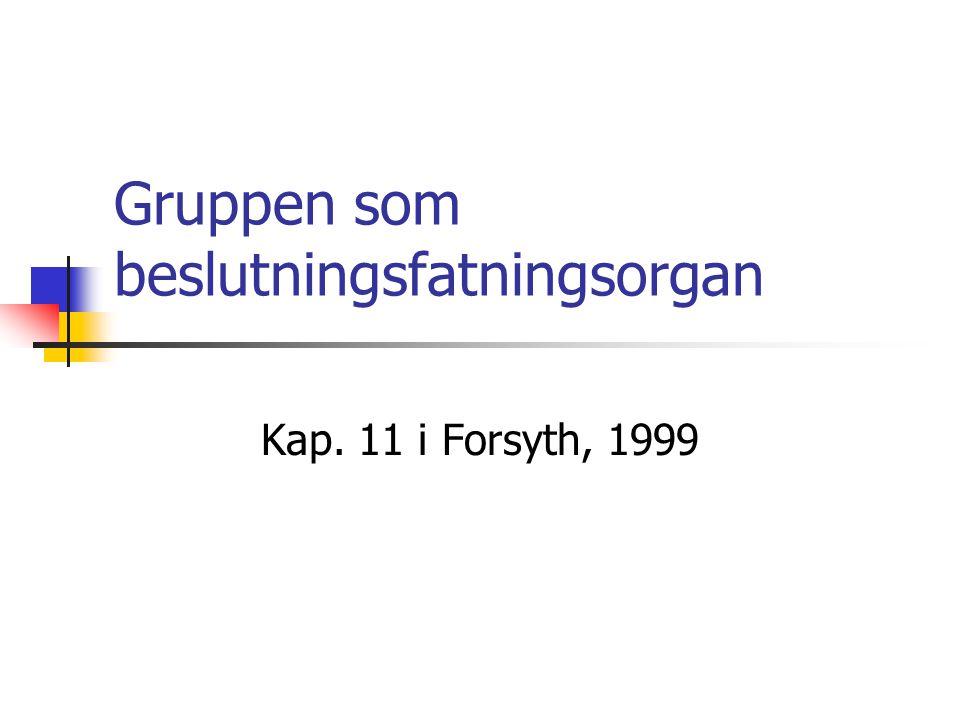 Gruppen som beslutningsfatningsorgan Kap. 11 i Forsyth, 1999