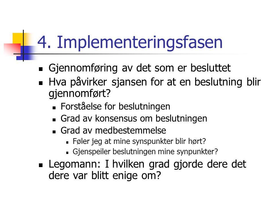 4. Implementeringsfasen Gjennomføring av det som er besluttet Hva påvirker sjansen for at en beslutning blir gjennomført? Forståelse for beslutningen