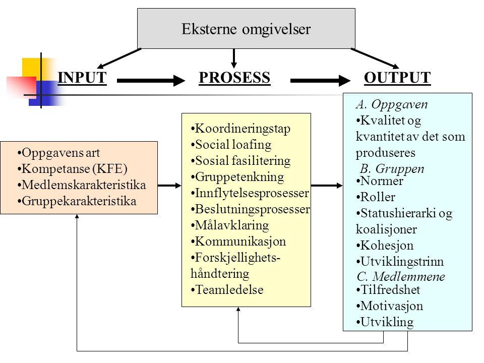 Output: Oppgaven Er det gruppen produserer av tilfredsstillende kvalitet for dem som mottar resultatene.