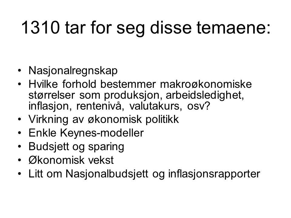1310 tar for seg disse temaene: Nasjonalregnskap Hvilke forhold bestemmer makroøkonomiske størrelser som produksjon, arbeidsledighet, inflasjon, rente