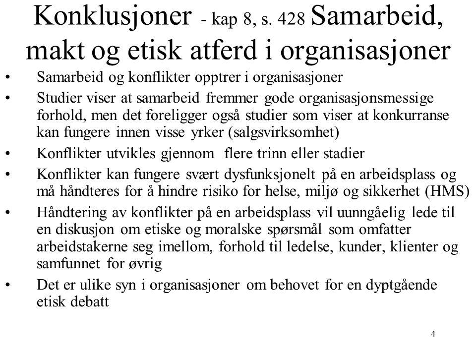 4 Konklusjoner - kap 8, s. 428 Samarbeid, makt og etisk atferd i organisasjoner Samarbeid og konflikter opptrer i organisasjoner Studier viser at sama