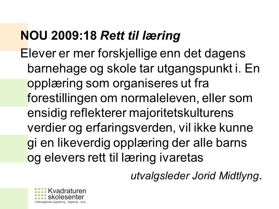 NOU 2009:18 Rett til læring Elever er mer forskjellige enn det dagens barnehage og skole tar utgangspunkt i. En opplæring som organiseres ut fra fores