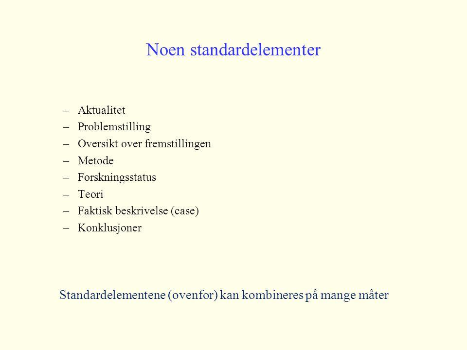 Noen standardelementer –Aktualitet –Problemstilling –Oversikt over fremstillingen –Metode –Forskningsstatus –Teori –Faktisk beskrivelse (case) –Konklu