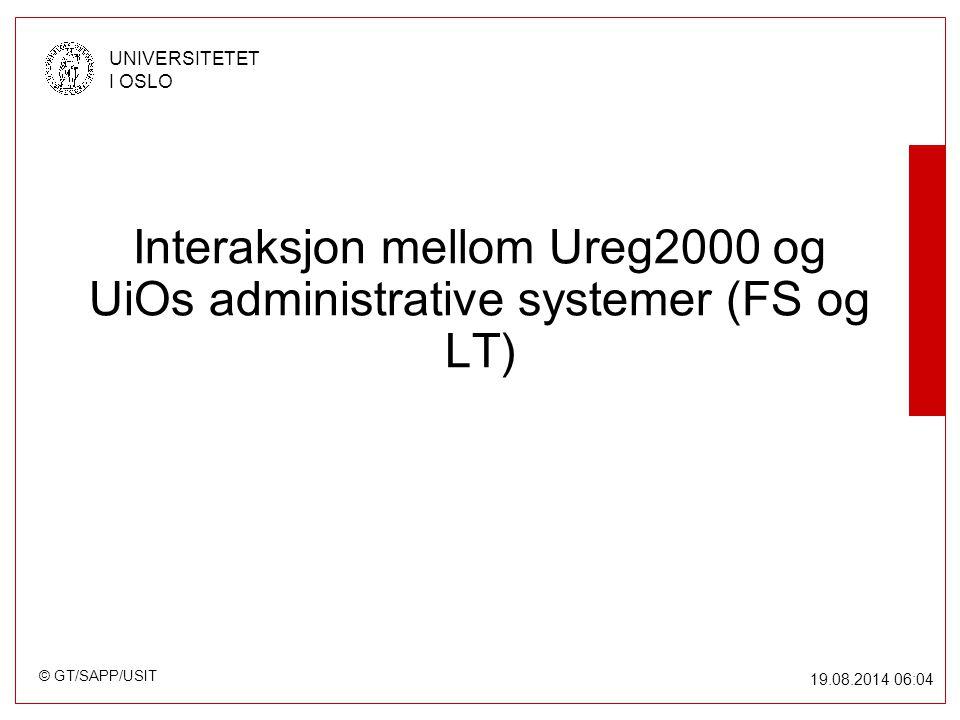 © GT/SAPP/USIT UNIVERSITETET I OSLO 19.08.2014 06:05 Interaksjon mellom Ureg2000 og UiOs administrative systemer (FS og LT)