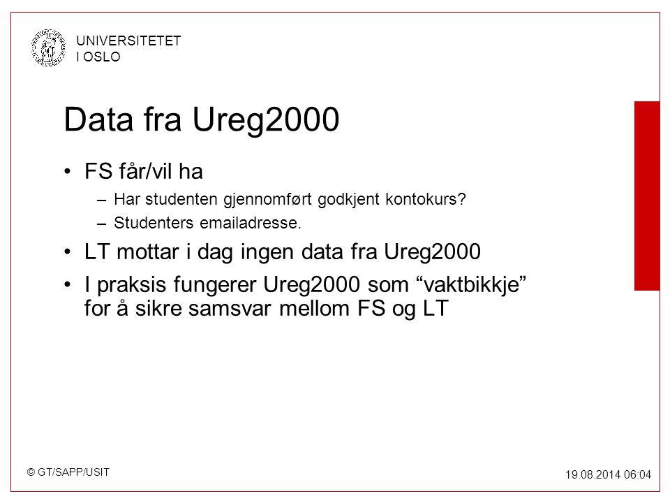 © GT/SAPP/USIT UNIVERSITETET I OSLO 19.08.2014 06:05 Data fra Ureg2000 FS får/vil ha –Har studenten gjennomført godkjent kontokurs.