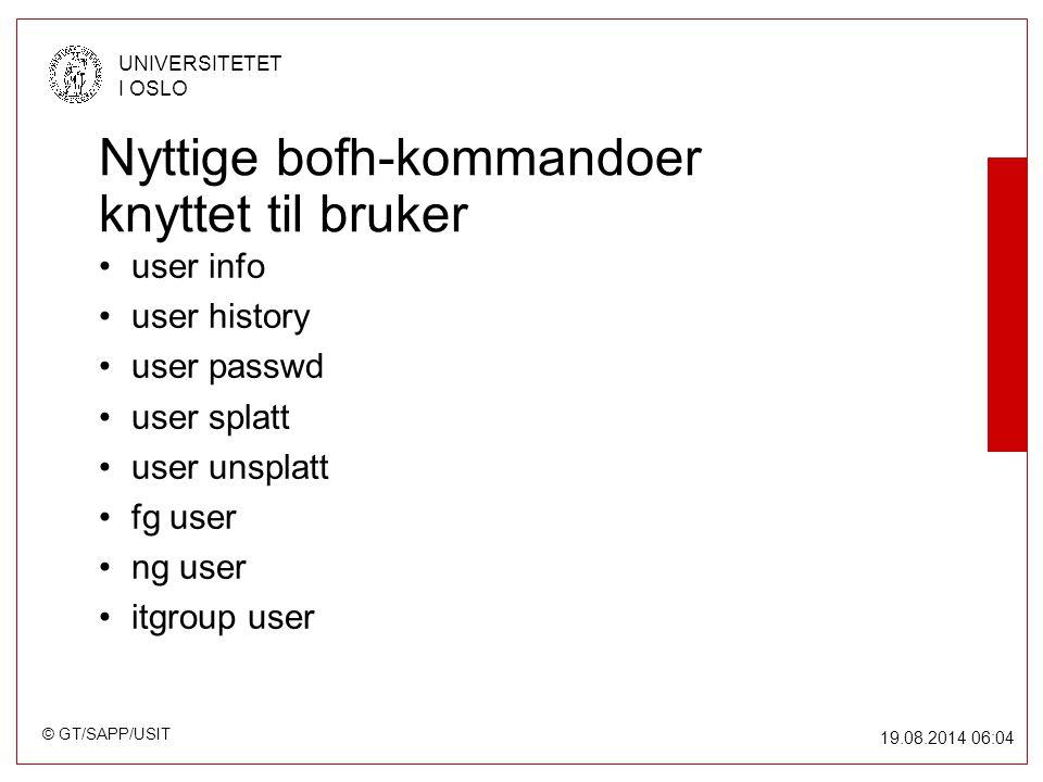 © GT/SAPP/USIT UNIVERSITETET I OSLO 19.08.2014 06:05 Nyttige bofh-kommandoer knyttet til bruker user info user history user passwd user splatt user unsplatt fg user ng user itgroup user