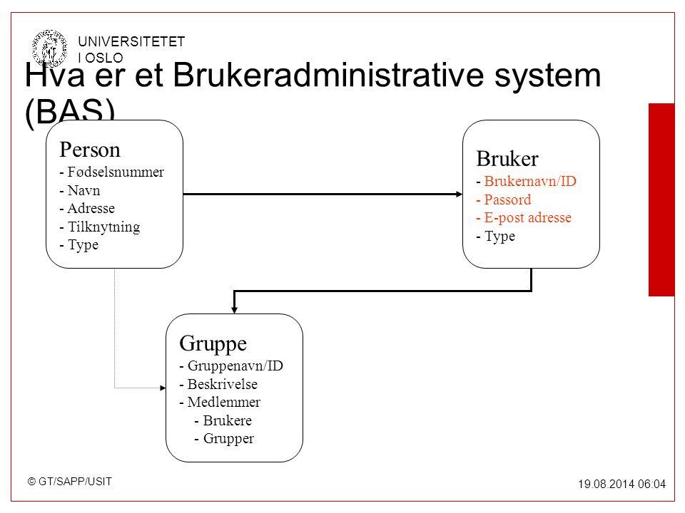 © GT/SAPP/USIT UNIVERSITETET I OSLO 19.08.2014 06:05 Hva er et Brukeradministrative system (BAS) Person - Fødselsnummer - Navn - Adresse - Tilknytning - Type Bruker - Brukernavn/ID - Passord - E-post adresse - Type Gruppe - Gruppenavn/ID - Beskrivelse - Medlemmer - Brukere - Grupper