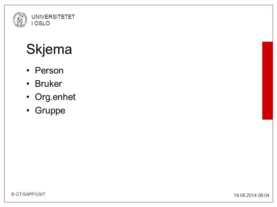 © GT/SAPP/USIT UNIVERSITETET I OSLO 19.08.2014 06:05 Skjema Person Bruker Org.enhet Gruppe