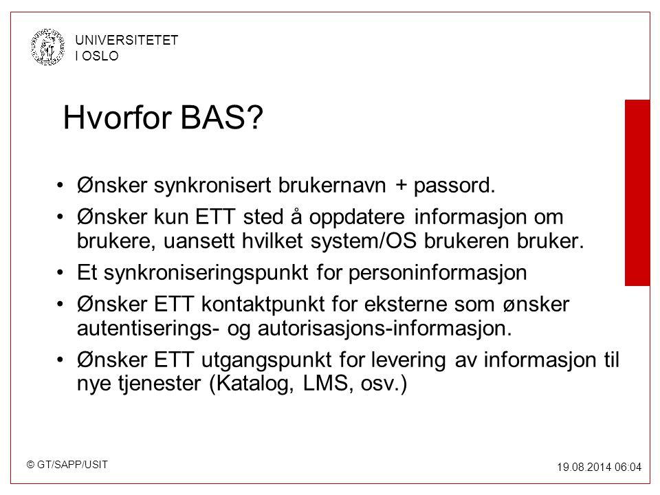 © GT/SAPP/USIT UNIVERSITETET I OSLO 19.08.2014 06:05 Hvorfor BAS.