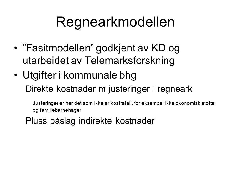 """Regnearkmodellen """"Fasitmodellen"""" godkjent av KD og utarbeidet av Telemarksforskning Utgifter i kommunale bhg Direkte kostnader m justeringer i regnear"""