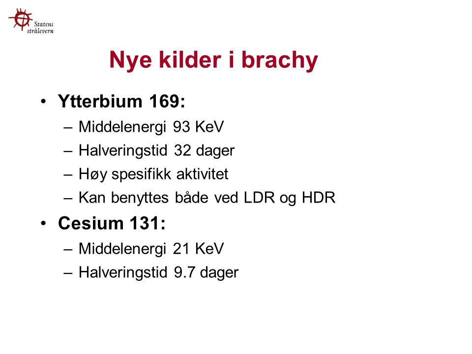 Nye kilder i brachy Ytterbium 169: –Middelenergi 93 KeV –Halveringstid 32 dager –Høy spesifikk aktivitet –Kan benyttes både ved LDR og HDR Cesium 131: –Middelenergi 21 KeV –Halveringstid 9.7 dager