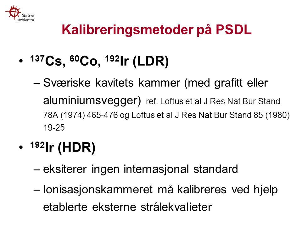 Kalibreringsmetoder på PSDL 137 Cs, 60 Co, 192 Ir (LDR) –Sværiske kavitets kammer (med grafitt eller aluminiumsvegger) ref.