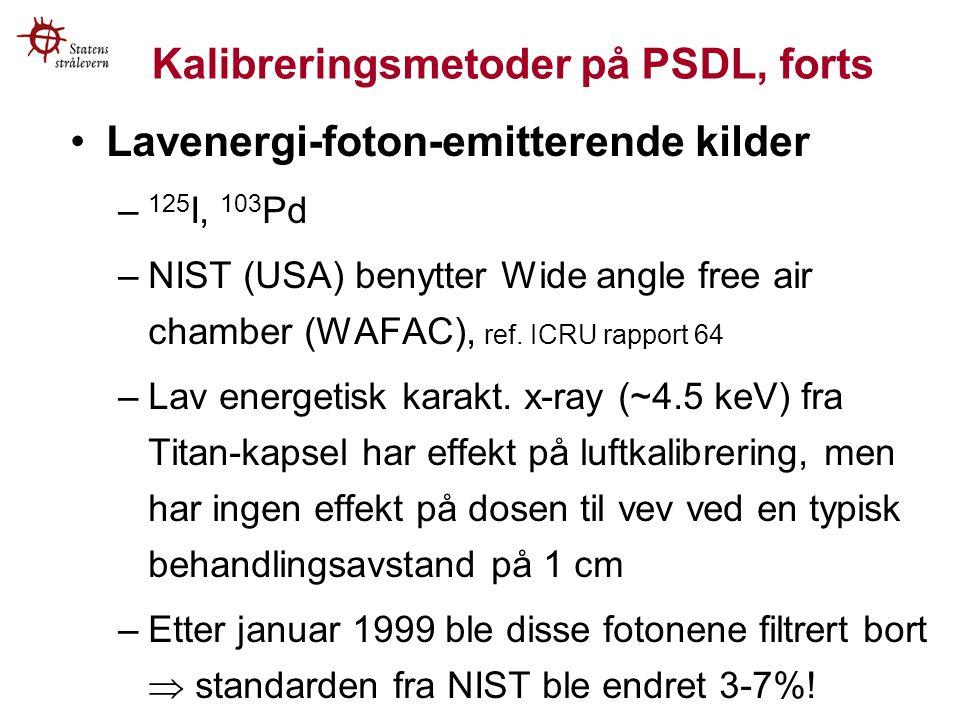 Kalibreringsmetoder på PSDL, forts Lavenergi-foton-emitterende kilder – 125 I, 103 Pd –NIST (USA) benytter Wide angle free air chamber (WAFAC), ref.