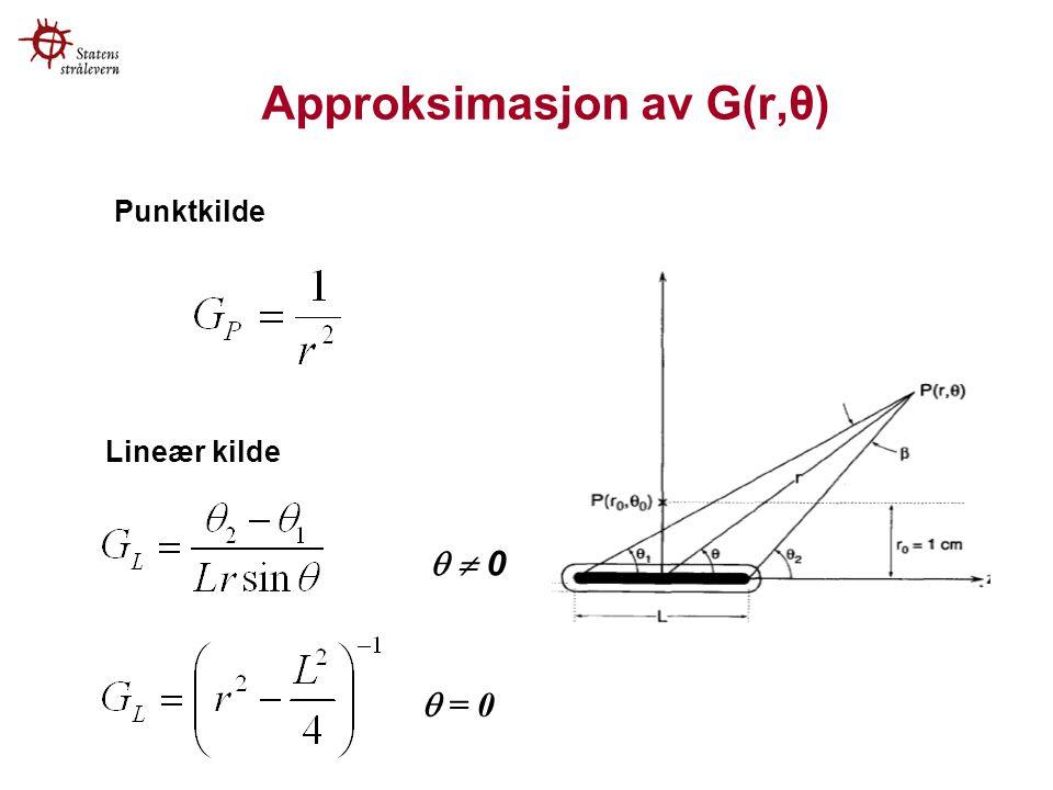 Approksimasjon av G(r,θ)   0  = 0 Lineær kilde Punktkilde