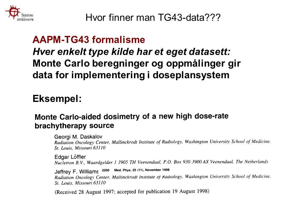 AAPM-TG43 formalisme Hver enkelt type kilde har et eget datasett: Monte Carlo beregninger og oppmålinger gir data for implementering i doseplansystem Eksempel: Hvor finner man TG43-data???