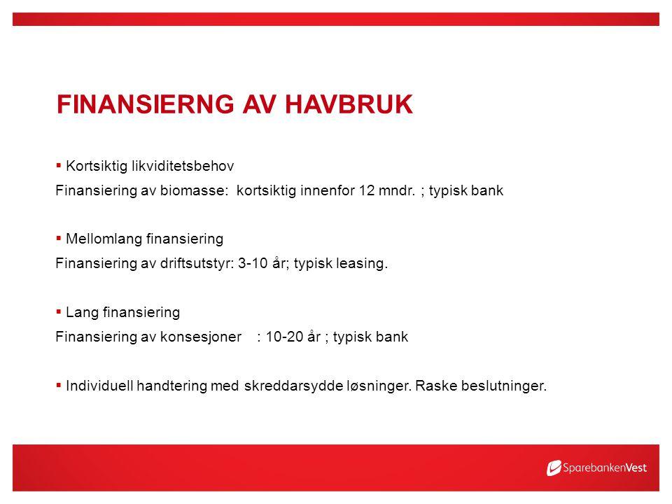 FINANSIERNG AV HAVBRUK  Kortsiktig likviditetsbehov Finansiering av biomasse: kortsiktig innenfor 12 mndr.