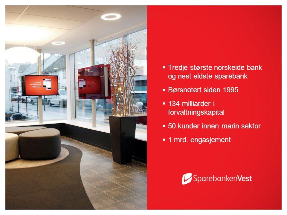  Tredje største norskeide bank og nest eldste sparebank  Børsnotert siden 1995  134 milliarder i forvaltningskapital  50 kunder innen marin sektor  1 mrd.